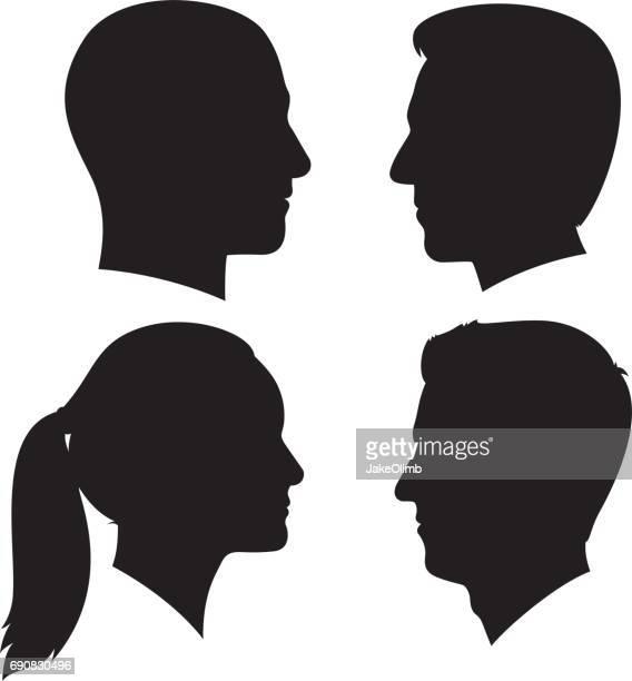 junge erwachsene profil silhouetten 3 - kopf stock-grafiken, -clipart, -cartoons und -symbole