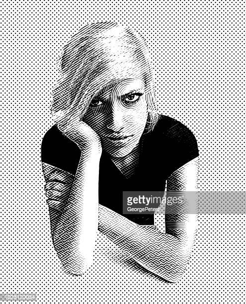 young adult woman with angry facial expression - me too social movement stock illustrations, clip art, cartoons, & icons