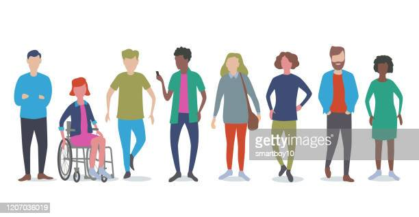 young adults or students - diversity stock illustrations