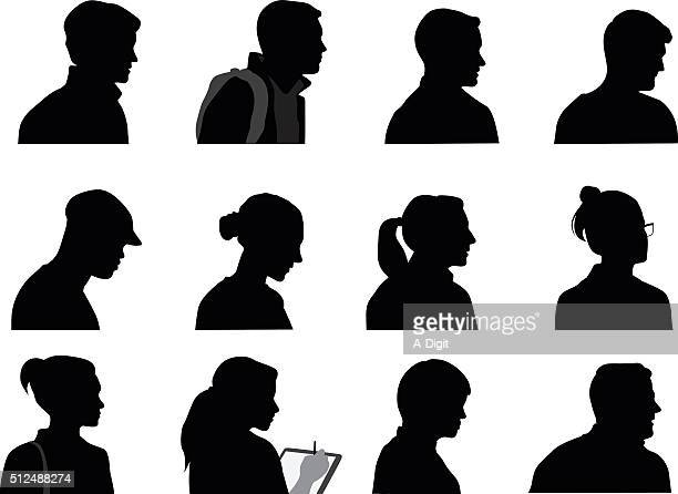 young adults silhouette profiles - mature adult stock illustrations