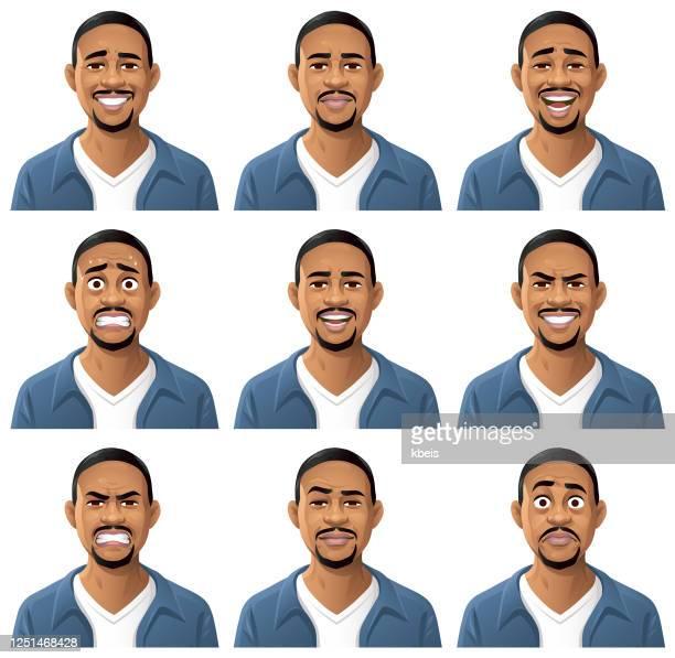 若いアフリカ系アメリカ人の男性の肖像画- 感情 - キャラクター点のイラスト素材/クリップアート素材/マンガ素材/アイコン素材