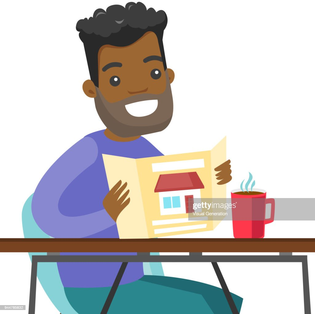Young african man reading real estate advertising