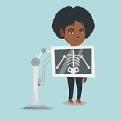 Young african woman during x ray procedure