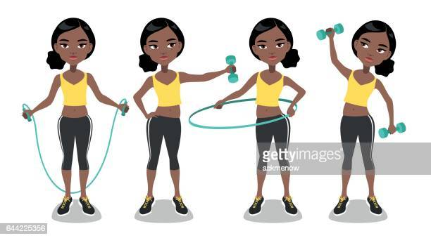 young african woman exercising - jump rope stock illustrations, clip art, cartoons, & icons