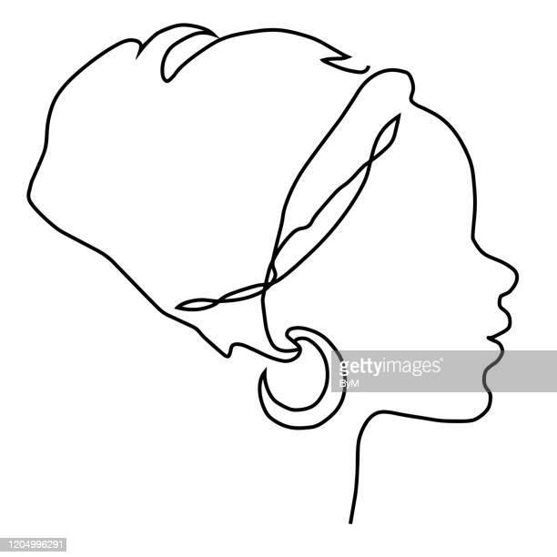 illustrations, cliparts, dessins animés et icônes de silhouette de visage de jeune femme africaine dans l'icône nationale de coiffure. - femmes