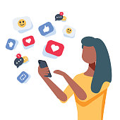 Young african-american woman using a smartphone with many social media heart like icons. Woman getting likes in social network.