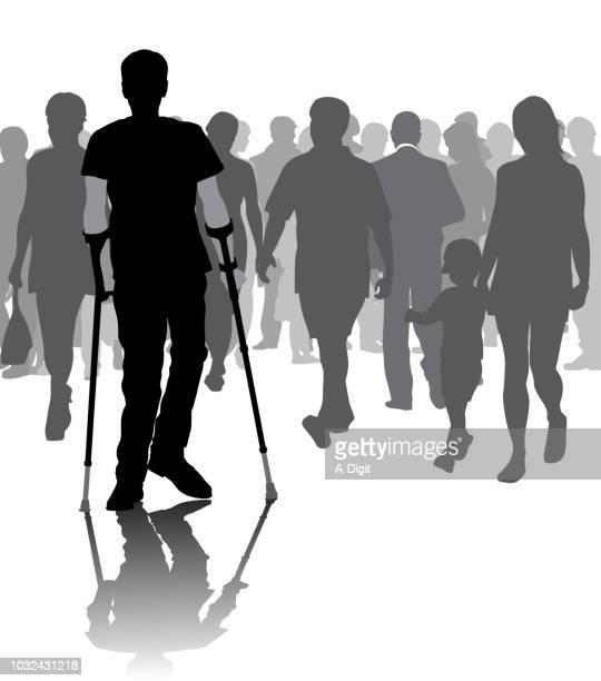 young and brave - disability stock illustrations, clip art, cartoons, & icons