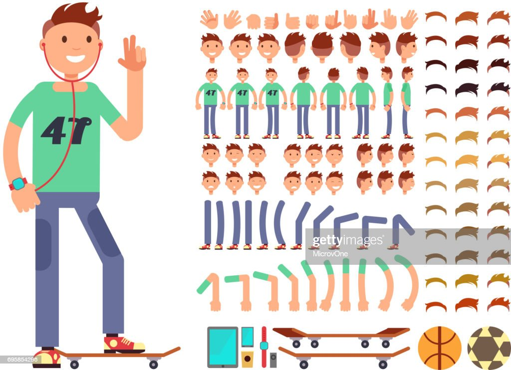 Young and happy vector character creation constructor. Student boy with headphones