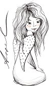 Young Angel Girl with Long Hair Inky Drawing