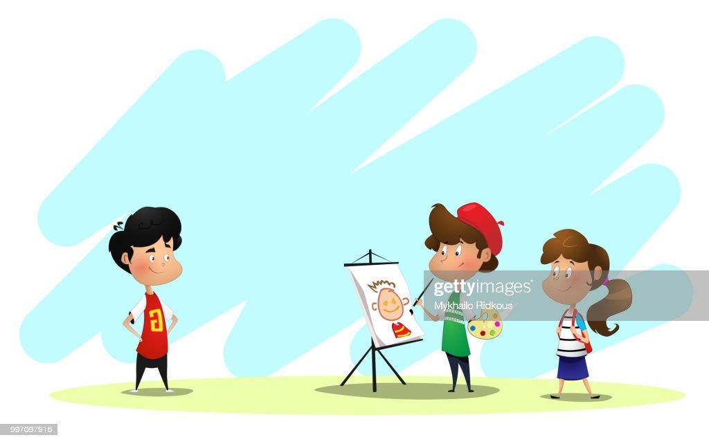 Young artist paints a portrait of his classmate.