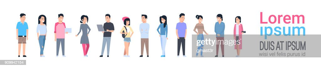 Young Asian Men And Women Icons Set Chinese Or Japanese Male And Female Full Length Isolated
