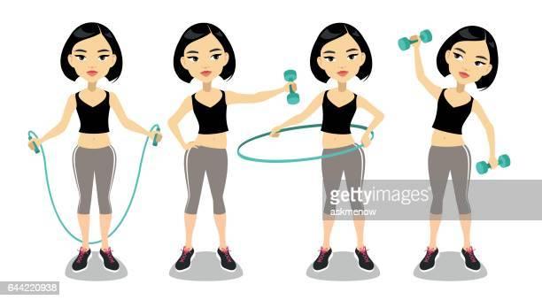 Ung asiatisk kvinna utövar