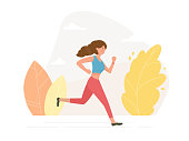 Young athletic woman running - vector illustration