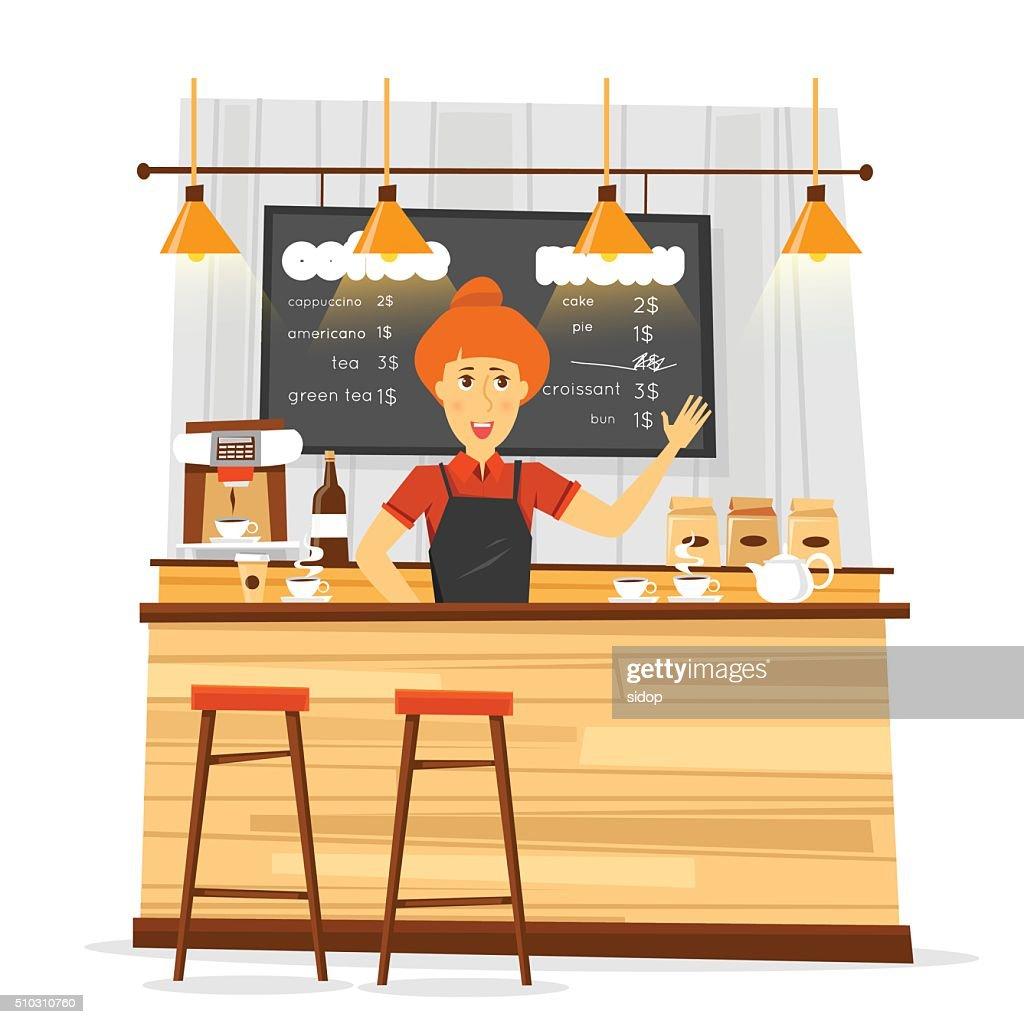 Young bari sta woman and coffee bar. Flat vector illustration.