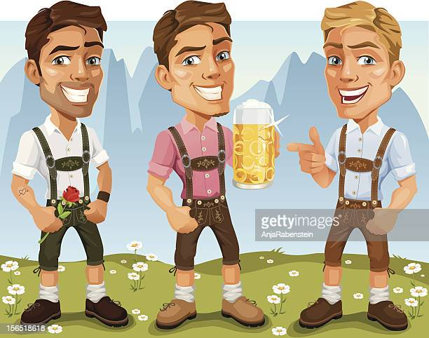 young bavarian oktoberfest cartoon men wearing lederhosen, drinking beer - traditional clothing stock illustrations