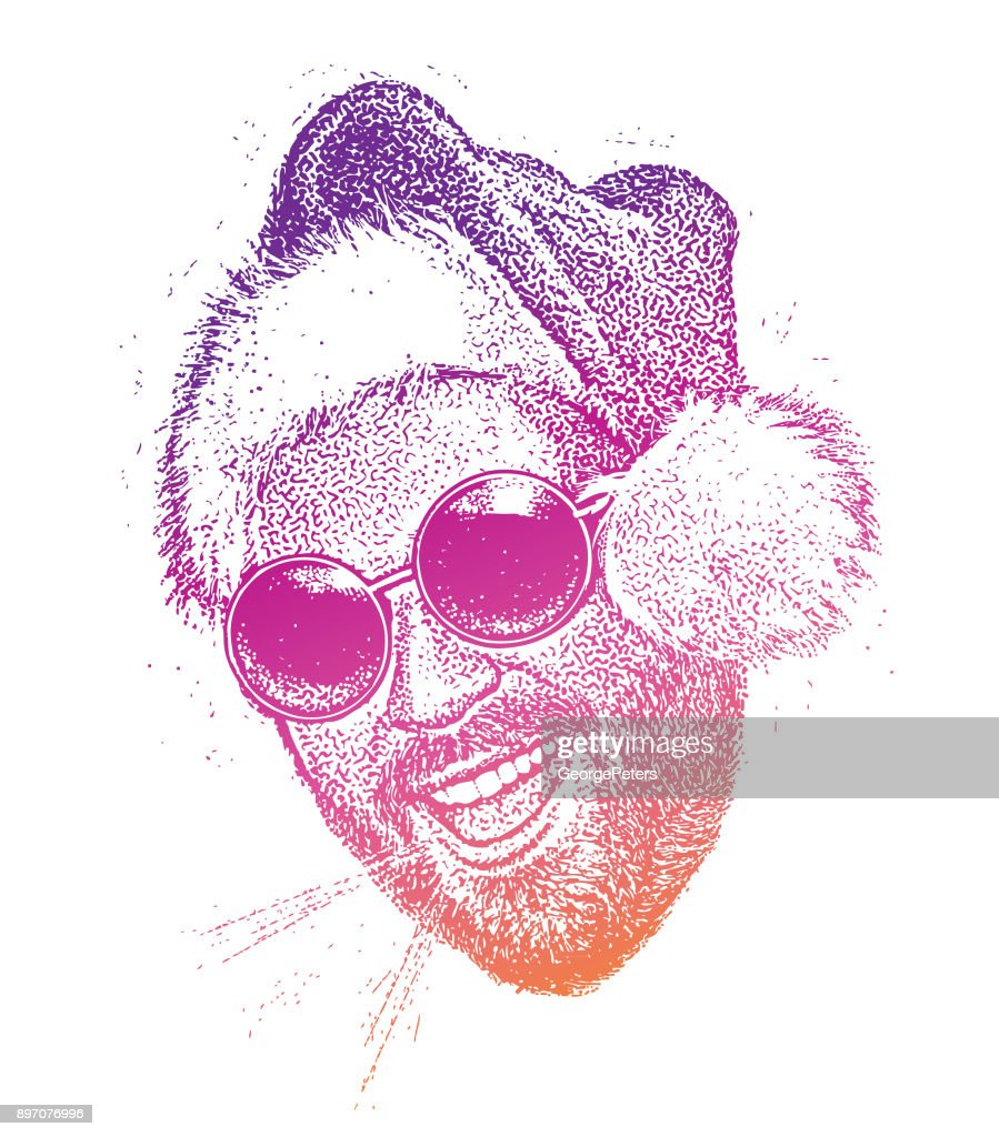 Young bearded hipster wearing Santa hat talking : stock illustration