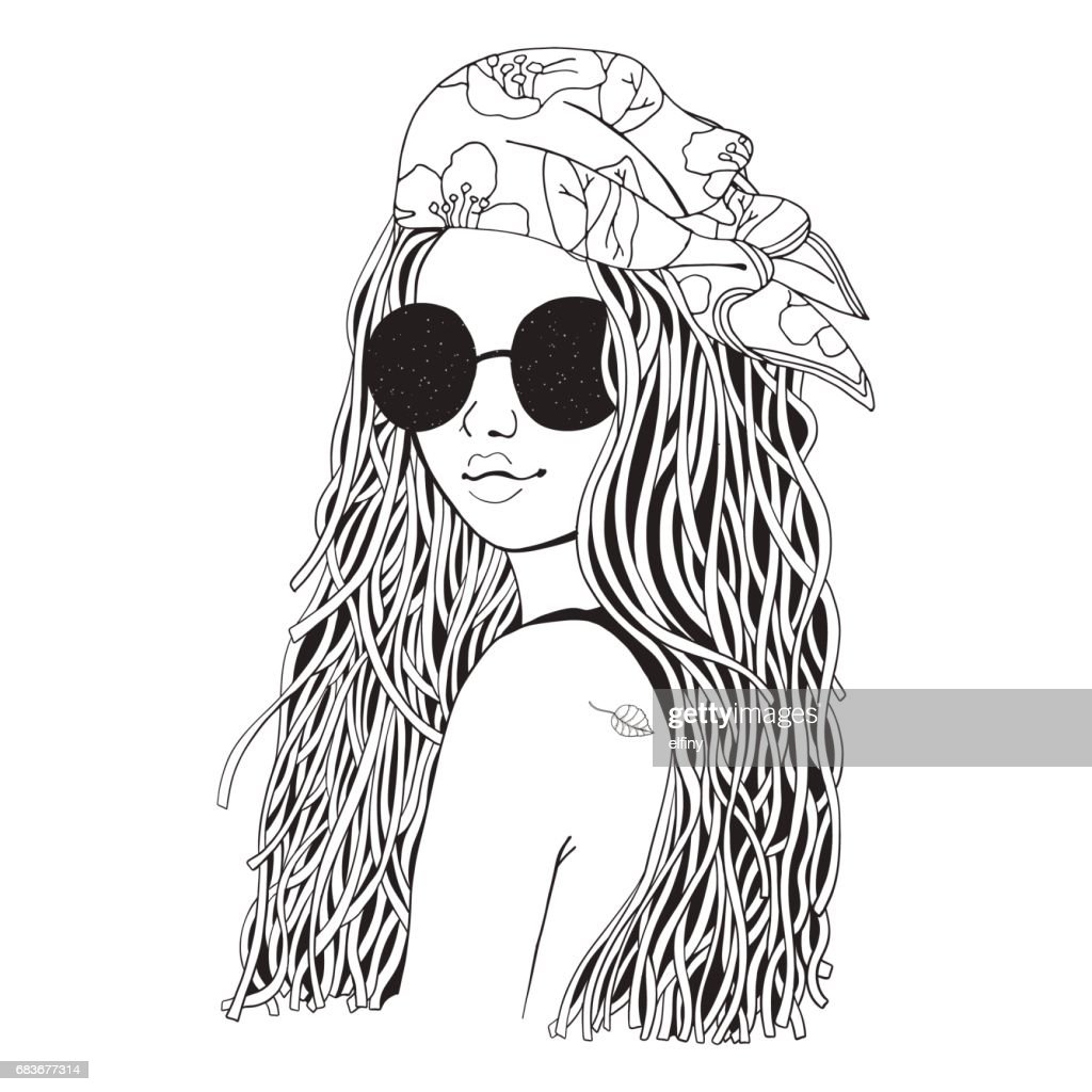 Young beautiful girl in sunglasses and bandana. Black and white doodle coloring book
