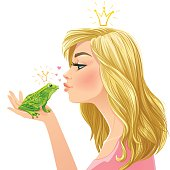 Young beautiful lady kisses a green frog