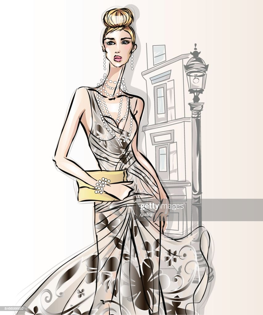 Young beautiful sexy woman in fashion sketch style. Street style girl with clutch at city background vector