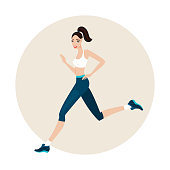Young beautiful slim woman running wearing sport clothes
