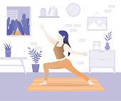 Young beautiful woman character doing yoga