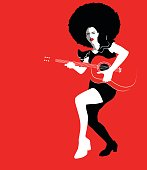 Young beautiful woman playing guitar, retro vintage vector illustration
