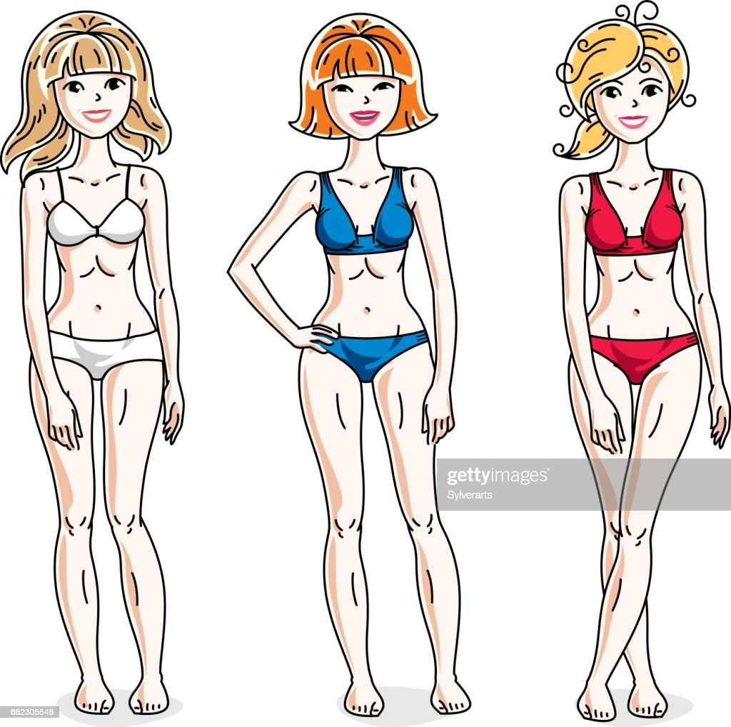 635c019a16 Young beautiful women standing wearing colorful bikini. Vector diversity  people illustrations set.   Vector
