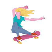 Young beautyful girl with golden hair on pink skateboard. The skateboarder in a sitting position does a trick. Flyer or poster for goods for sportsmen skateboarders. Flat vector illustration.