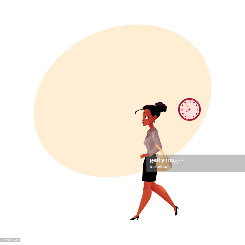 Young black, African American businesswoman hurrying, being late to work