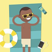 Young black character lying on the beach. Top view / flat editable vector illustration, clip art