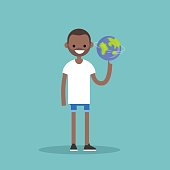 Young black character spinning the globe on finger / flat editable vector illustration, clip art