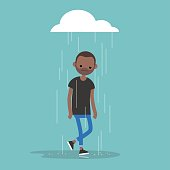 Young black character weeping in the rain / flat editable vector illustration, clip art