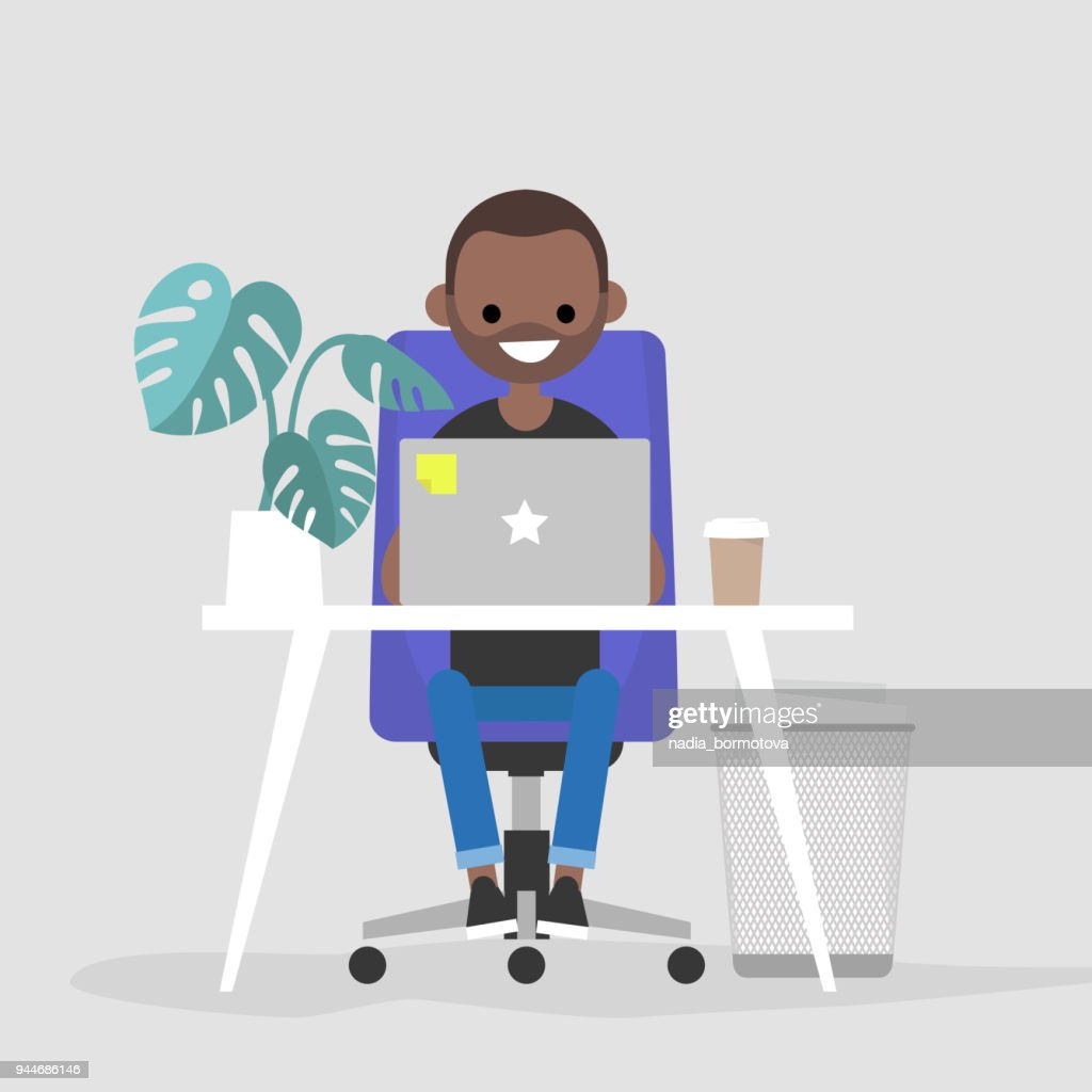 Young black character working on the laptop in the office. Interior. Daily life. Millennials at work. Flat editable vector illustration, clip art