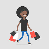 Young black female trendy character walking with the shopping bags / flat editable vector illustration