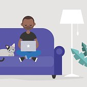Young black freelancer working at home / flat editable vector illustration, clip art