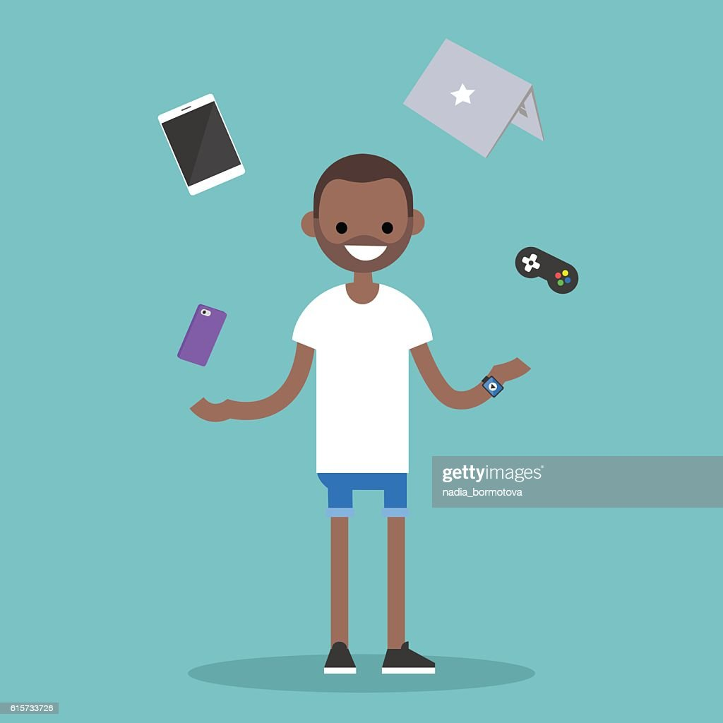 Young black man juggling electronic devices