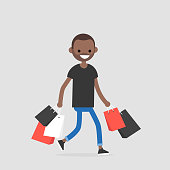 Young black trendy character walking with the shopping bags / flat editable vector illustration