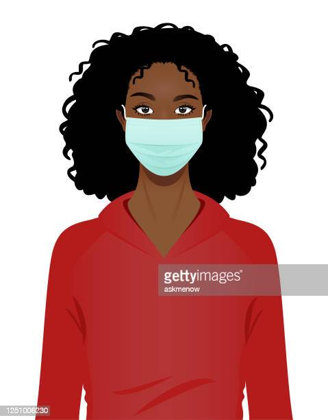 young black woman in a surgical mask portrait - woman wearing protective face mask stock illustrations