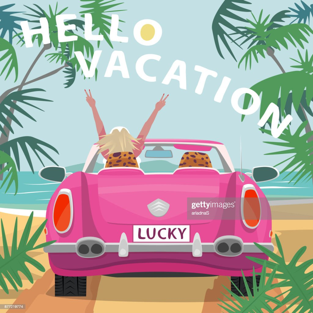 Young blonde girl in pink cabriolet car on beach