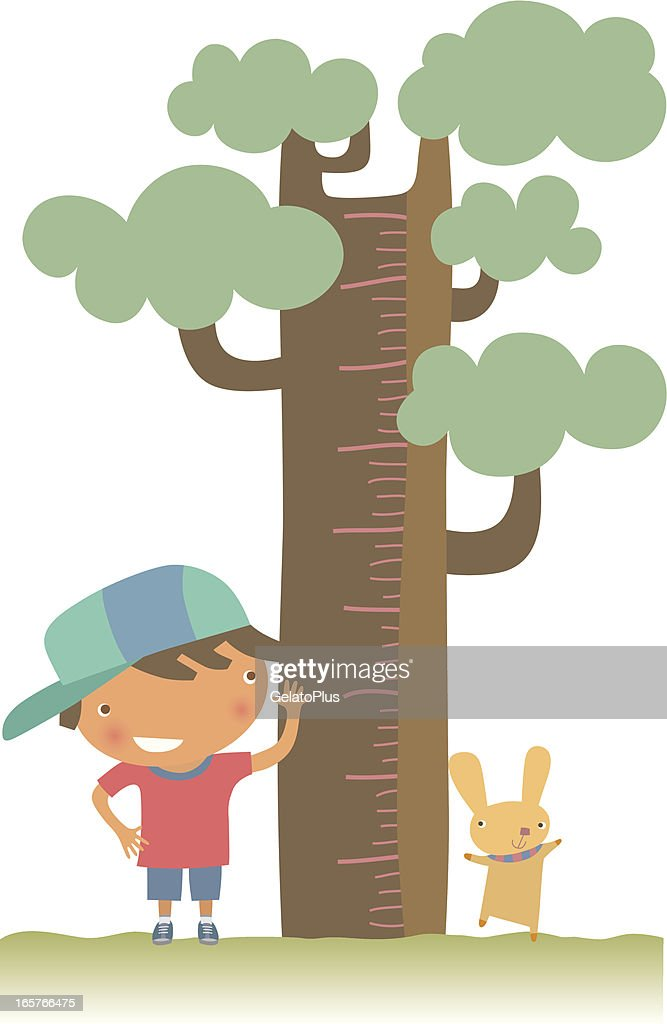 Young boy and pet checking their height against a tree : stock illustration
