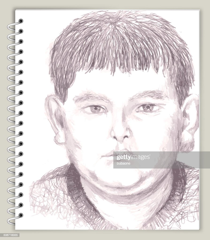 Young Boy Drawing On Art Sketching Scrapbook Design Stock