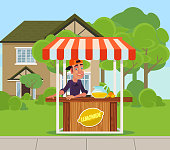 Young boy man teen character sale home lemonade juice on backyard. Summer time holiday vacation relax banner poster cartoon flat illustration
