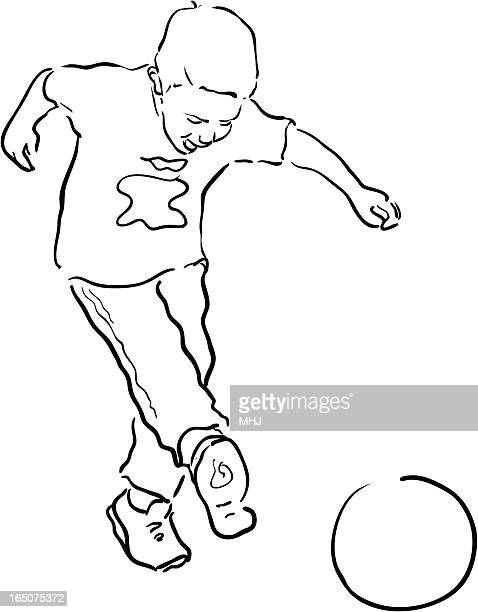 Young Boy playing soccer - Line drawing