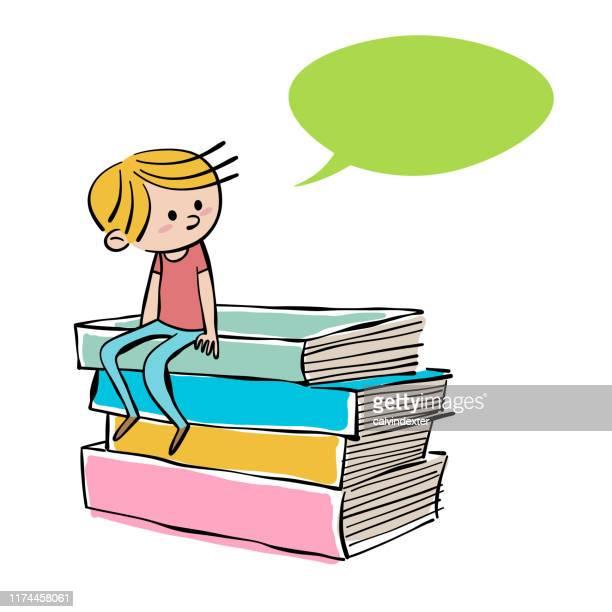 ilustrações de stock, clip art, desenhos animados e ícones de young boy sitting on a pile of books - kawaii