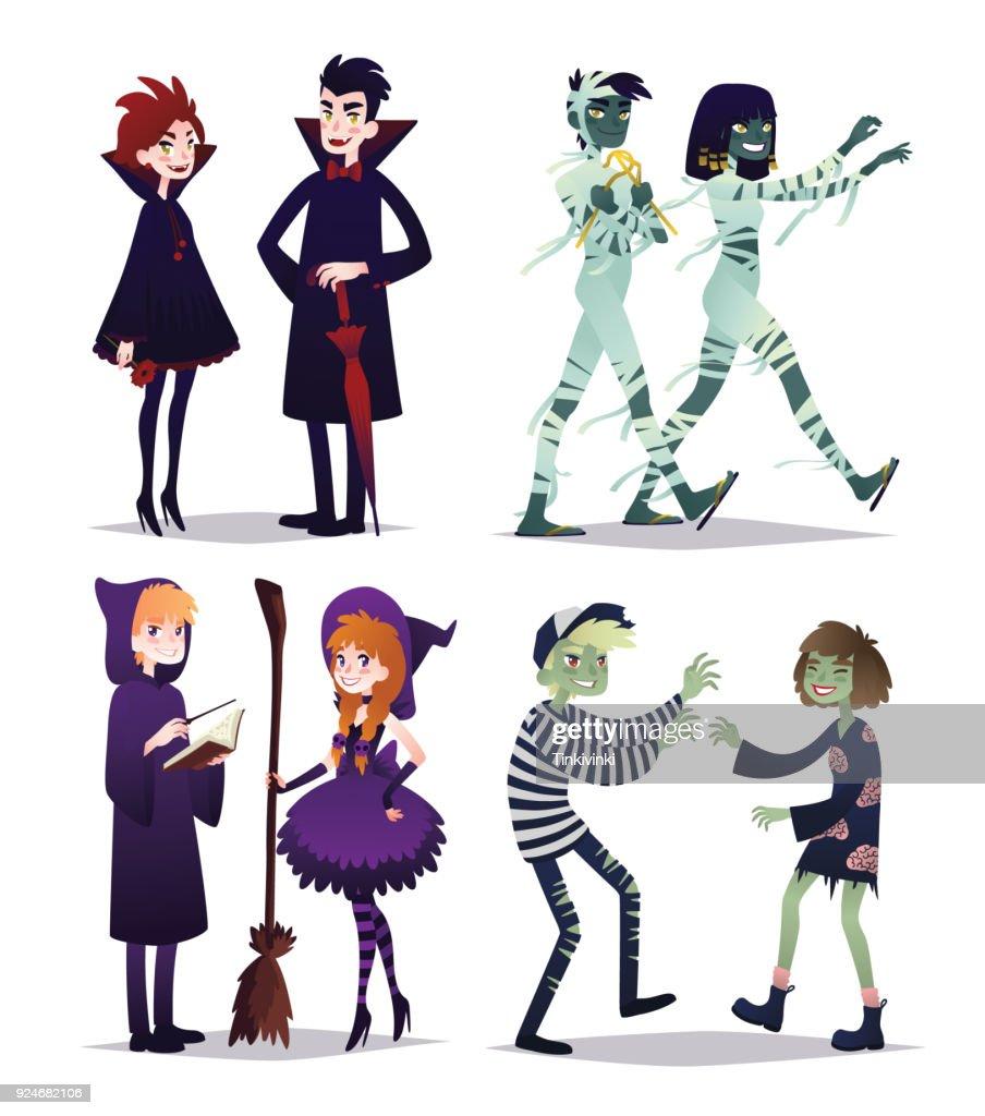 Young boys and girls in style of different Halloween characters. Costume party. Vector.