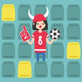 Young brunette girl wearing horned hat and foam finger at the stadium / flat editable vector illustration, clip art