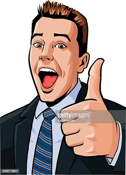 Young Business Man Proudly Giving Thumbs Up Gesture