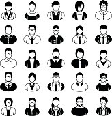 Young Business People. Icons set in black and white.