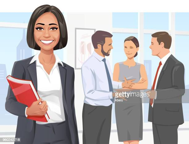 young business team - beautiful woman stock illustrations