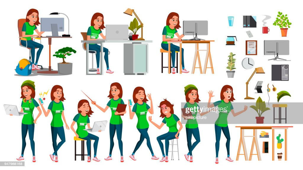Young Business Woman Set Character Vector. In Action. IT Startup Business Company. Environment Process. Teen. Cartoon Illustration